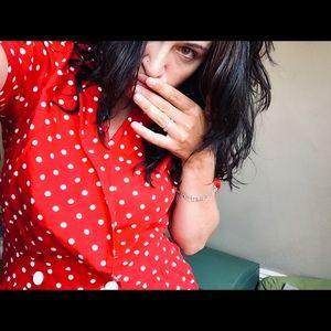 Red vintage pinup polka dot style dress